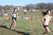 Lauren Benoit running in a cross country race in 2012.