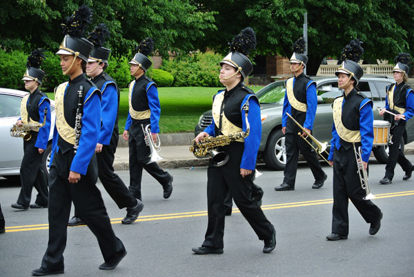 Malden High School Band members marching in the parade.
