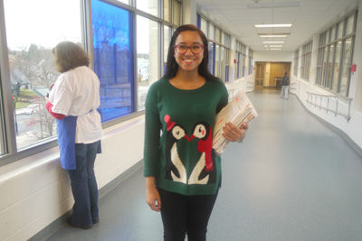 Junior Franshesly Correa wearing an ugly Christmas sweater. Photo by Kristy Yang.