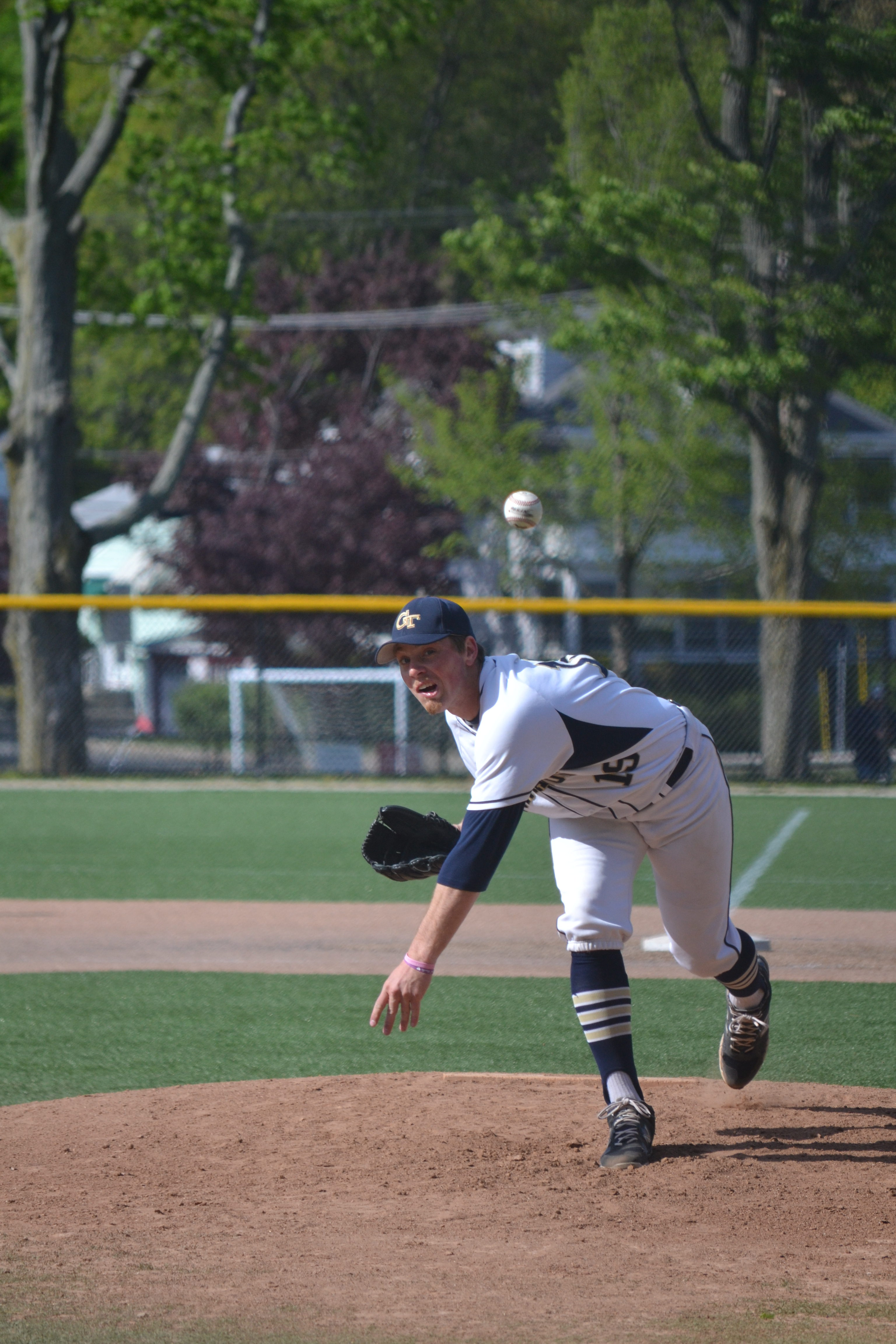 Senior captain Ronald Luke pitching. Photo taken by Jesaias Benitez