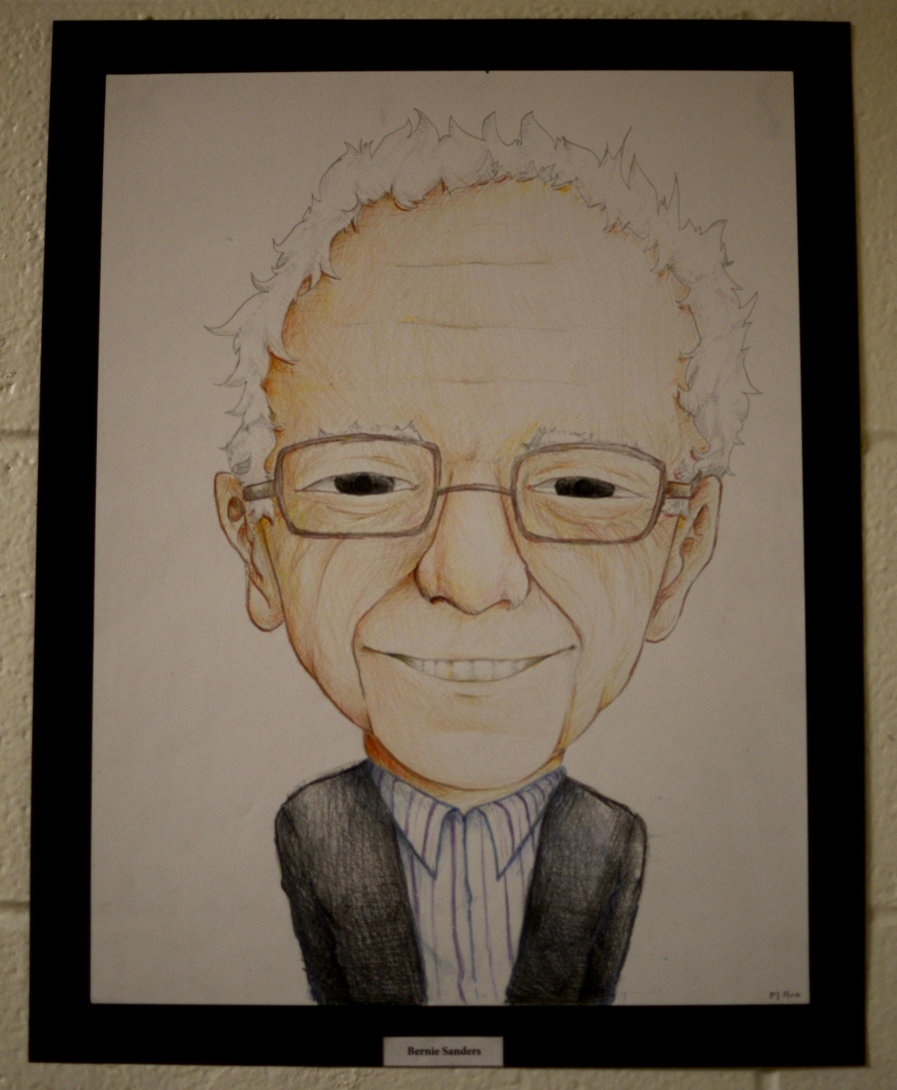 Portrait of Bernie Sanders by Mr. Luongo's Studio 2 Honors class. Photo taken by Ryan Hames.