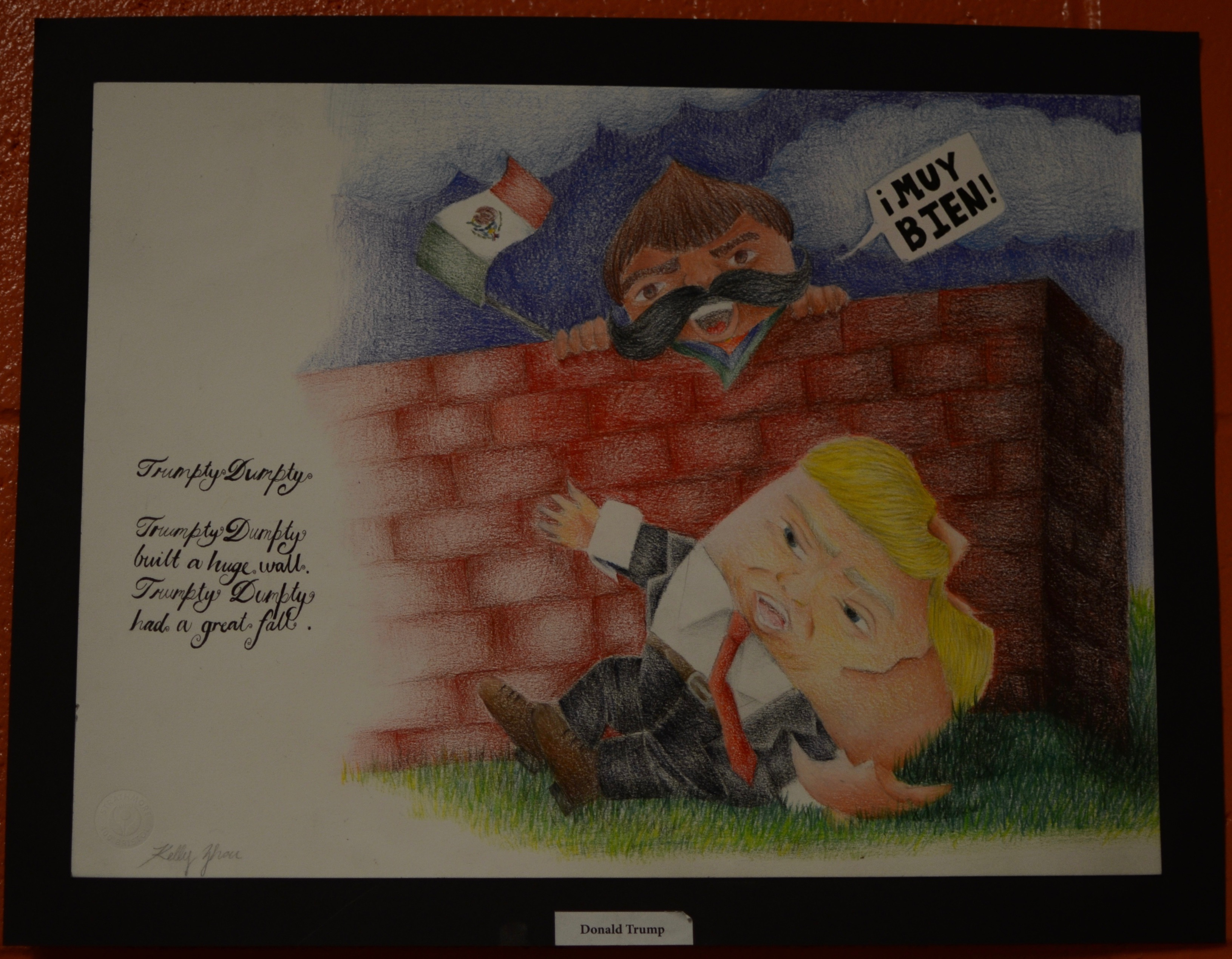 Portrait of Donald Trump by Mr. Luongo's Studio 2 Honors class. Photo taken by Ryan Hames.