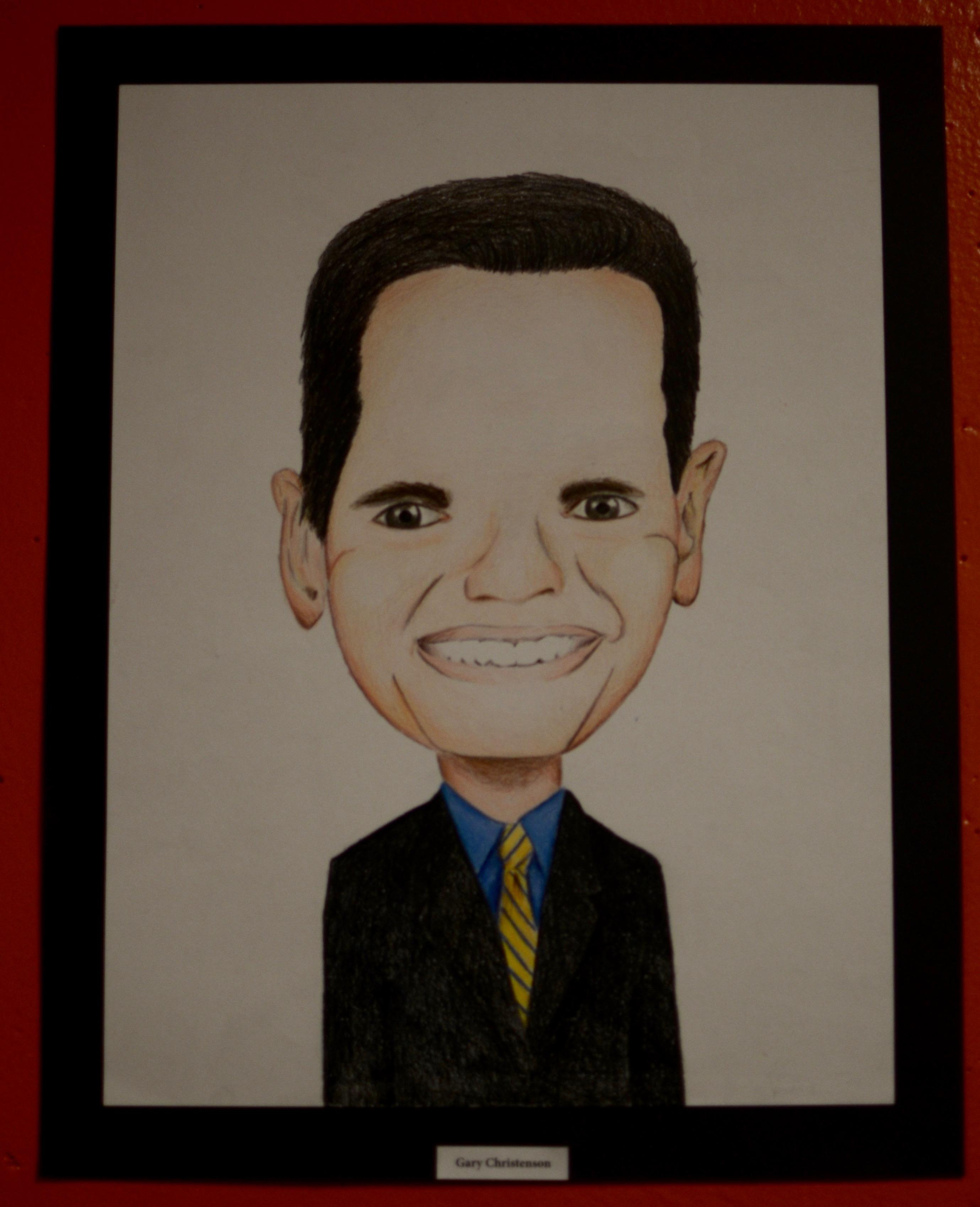 Portrait of Mayor Gary Christenson by Mr. Luongo's Studio 2 Honors class. Photo taken by Ryan Hames.