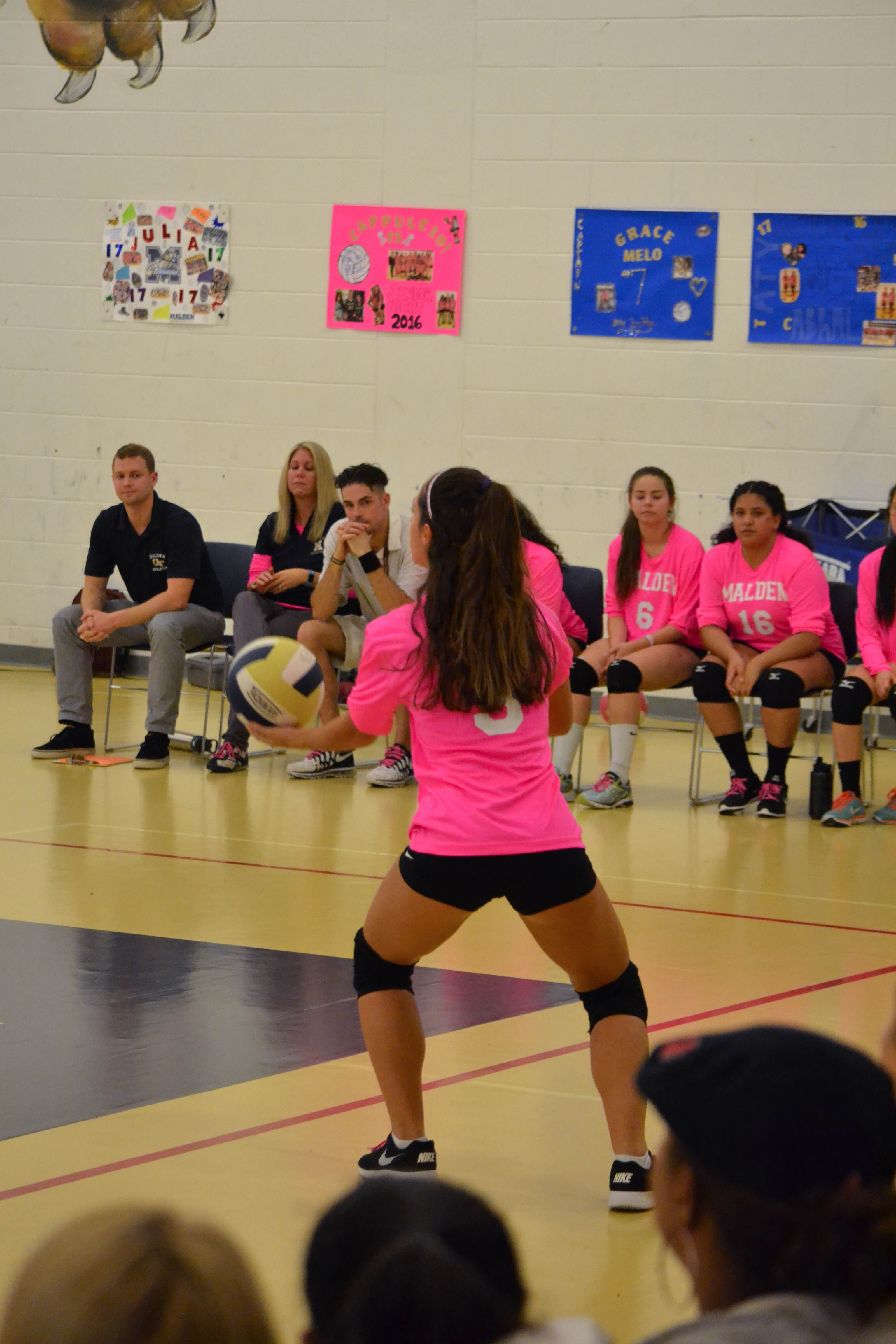 Senior Reanna Pinheiro getting ready to serve. Photo submitted by Daisy Depina.