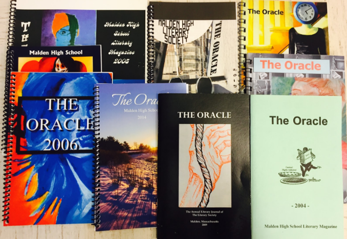 Previous publications of The Oracle all crafted by the Literary Society. Photo by Toby Pitan.