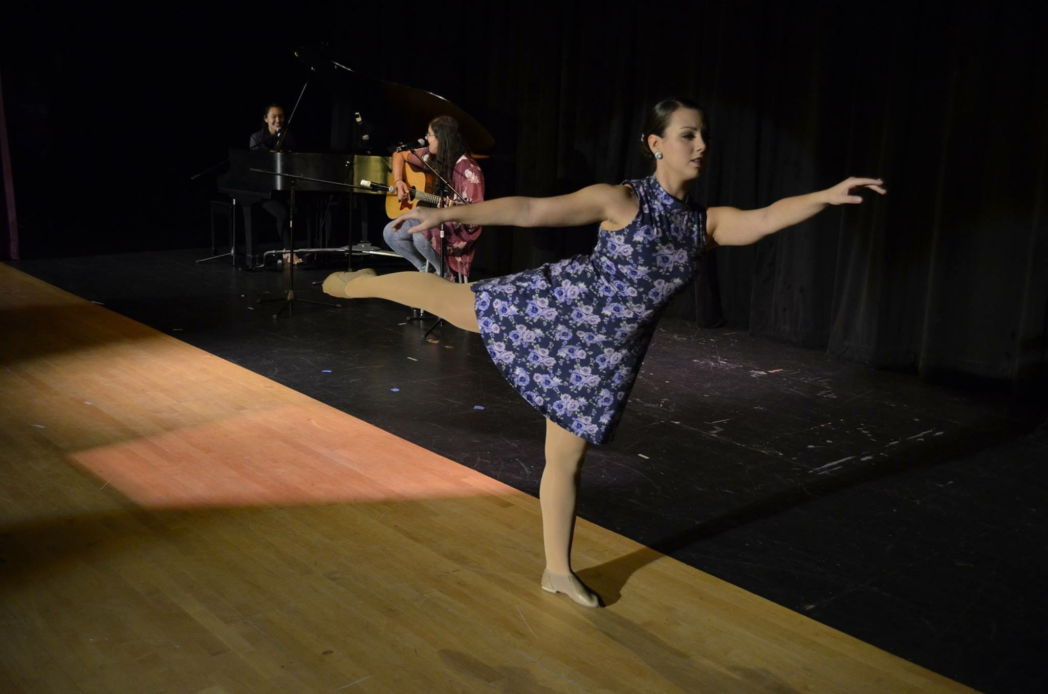 From the left, Seniors Madeline Lam, Sarah Vieira, and Ashley Vieira are pictured performing a singing and dancing trio. Photo by Danielle Copson.